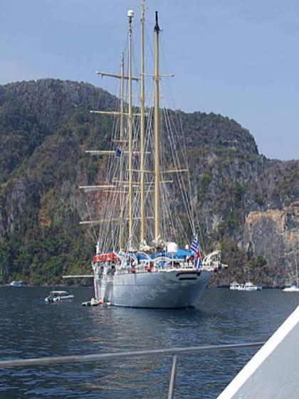 Large sailboat visiting Phi Phi Don, Thailand