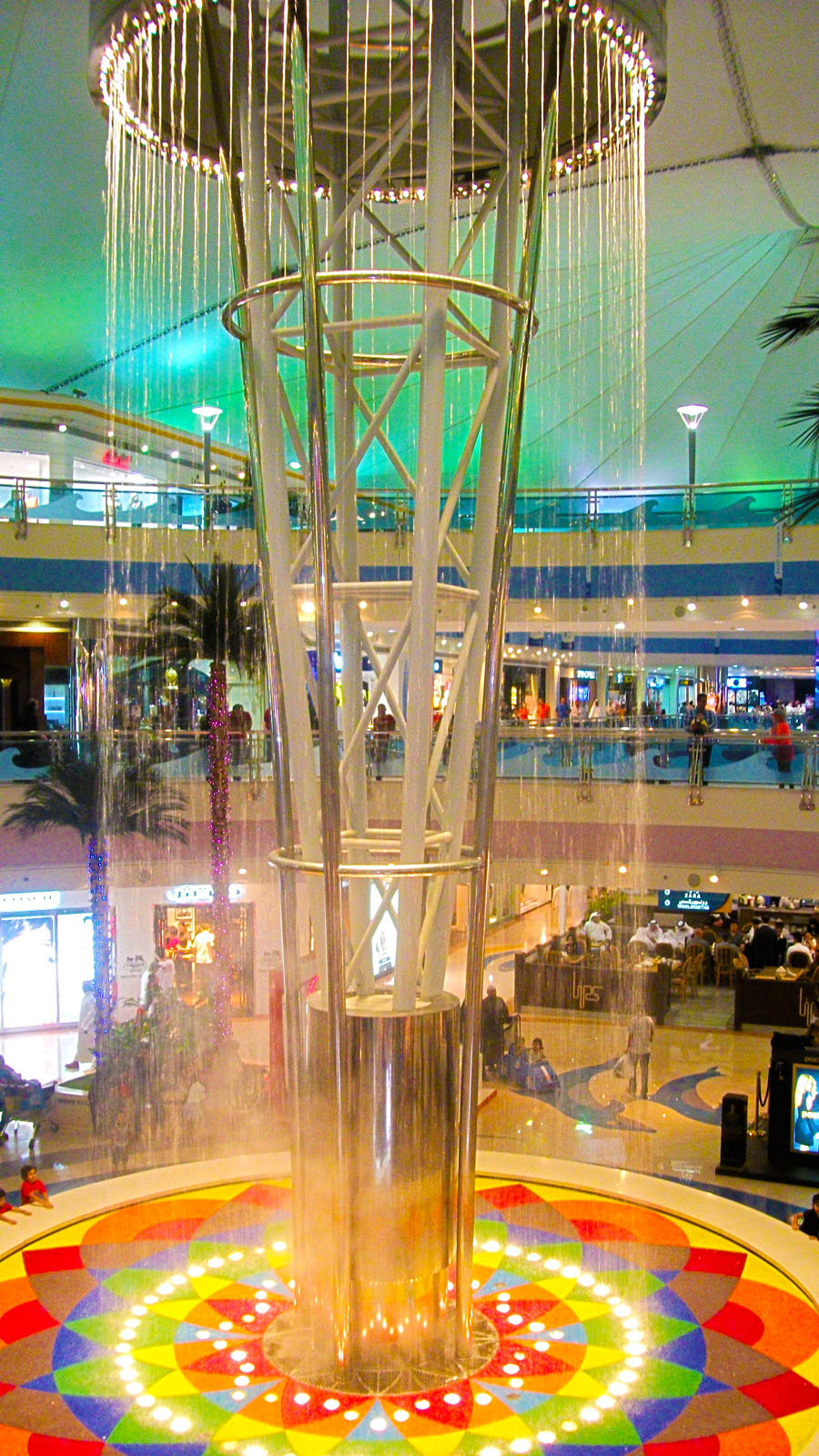 Geometric waterfall inside Marina Mall of Abu Dhabi, United Arab Emirates