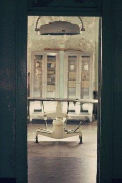 Exam table at the hospital of Alcatraz prison, AKA The Rock, in Sanfrancisco Bay, California