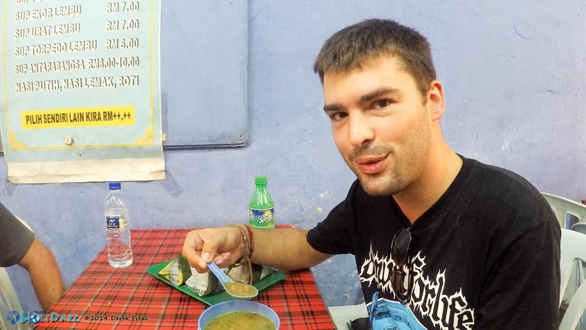 Enjoying sop torpedo -- otherwise known as bull penis soup