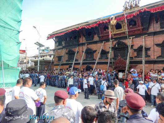 Locals in Kathmandu prepare for the start of the Indra Jatra festival
