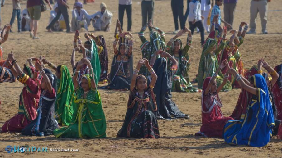 Dancing school girls from Rajasthan at the Pushkar Camel Fair 2015