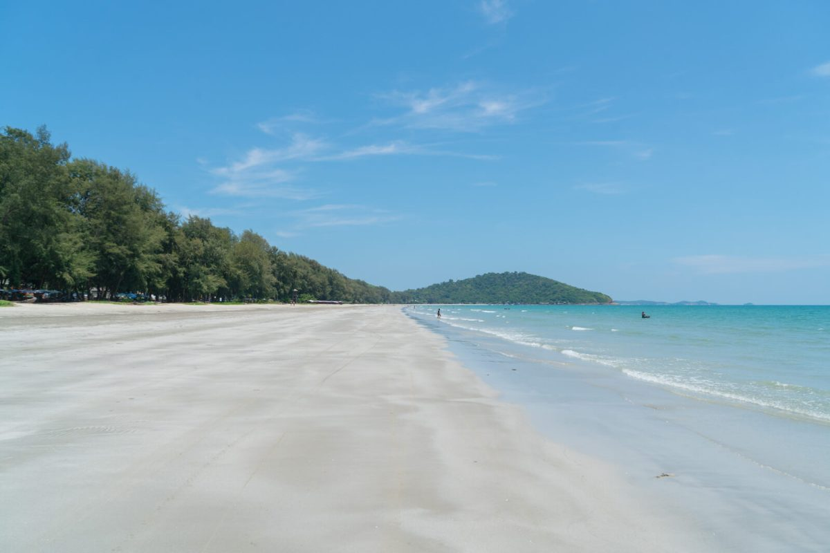 White sand at Hat Mae Rumpheng in Rayong, Thailand