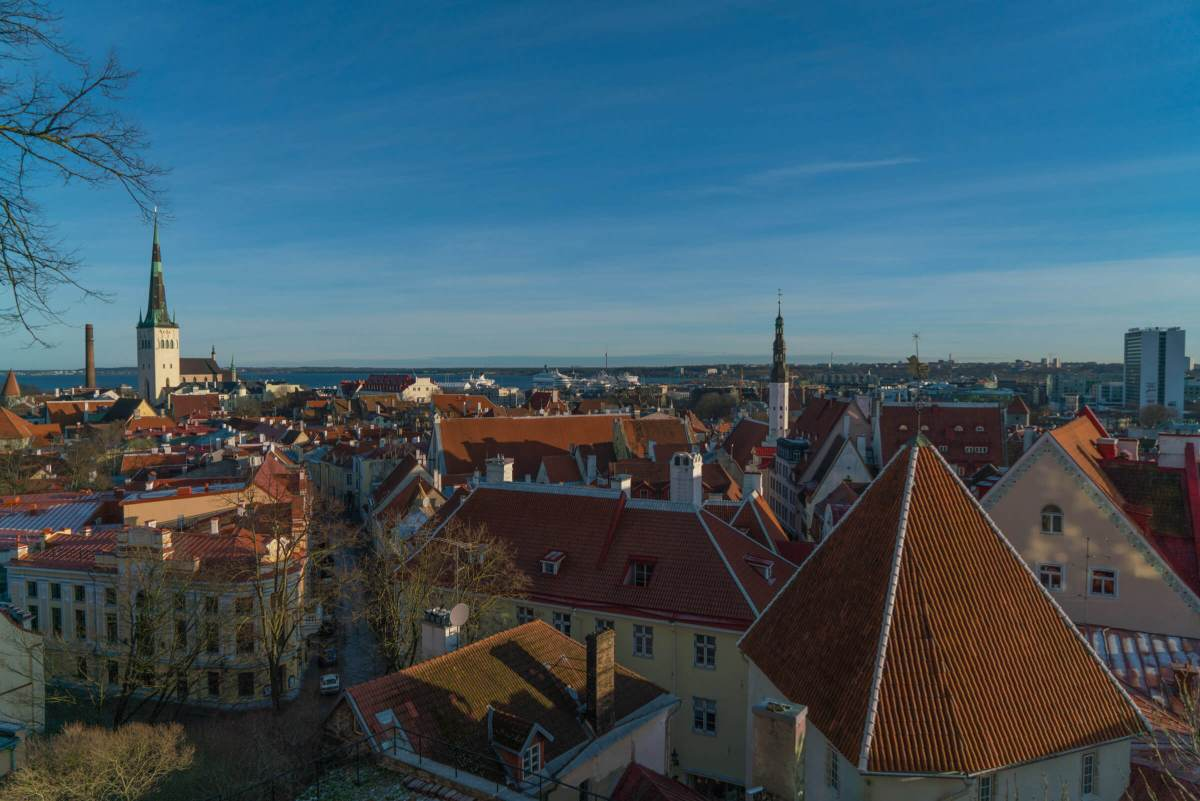Skyline view of Tallinn, Estonia on a gorgeous day