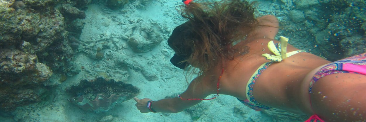 Snorkeling and swimming underwater with coral reefs and giant clams