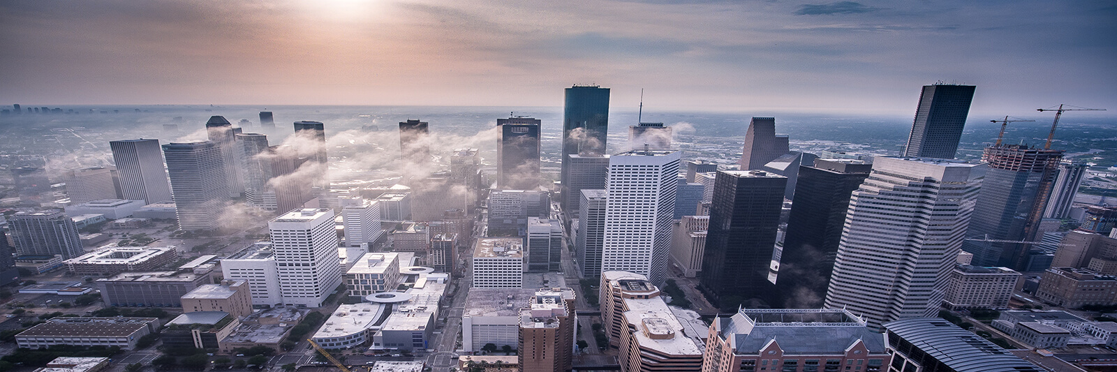 Aerial view of downtown Houston, Texas during sunrise