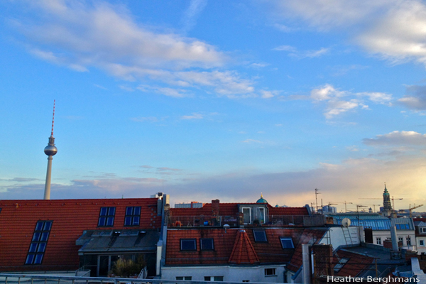 Many of the startup companies in Berlin have rooftop offices, with amazing skyline views like this