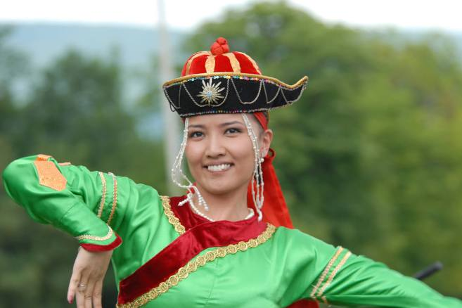 Mongolian woman dancing at Naadam festival in Ulaanbaatar, Mongolia