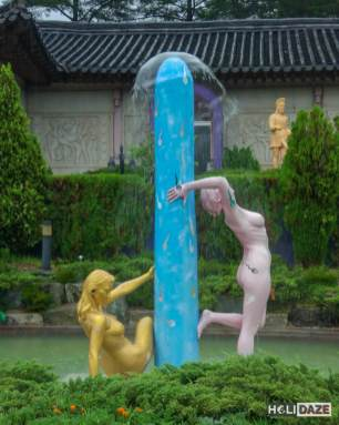 Sexual statues at the Love Castle sex museum in Gyeongju, South Korea