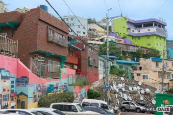 Artwork along Sanbok Road in Gamcheon Culture Village, Busan, South Korea