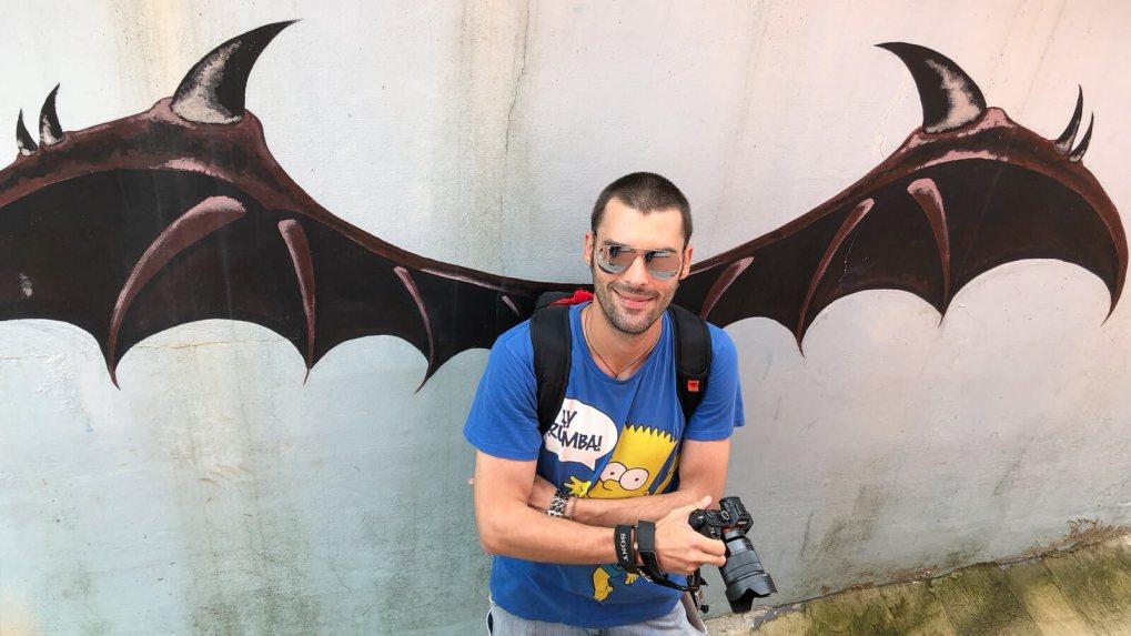 Derek Freal with evil bat wings at Gamcheon Culture Village in Busan, South Korea