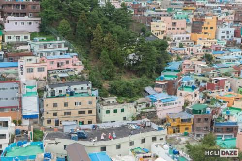 Hanbok photo shoot at Gamcheon Culture Village in Busan, South Korea