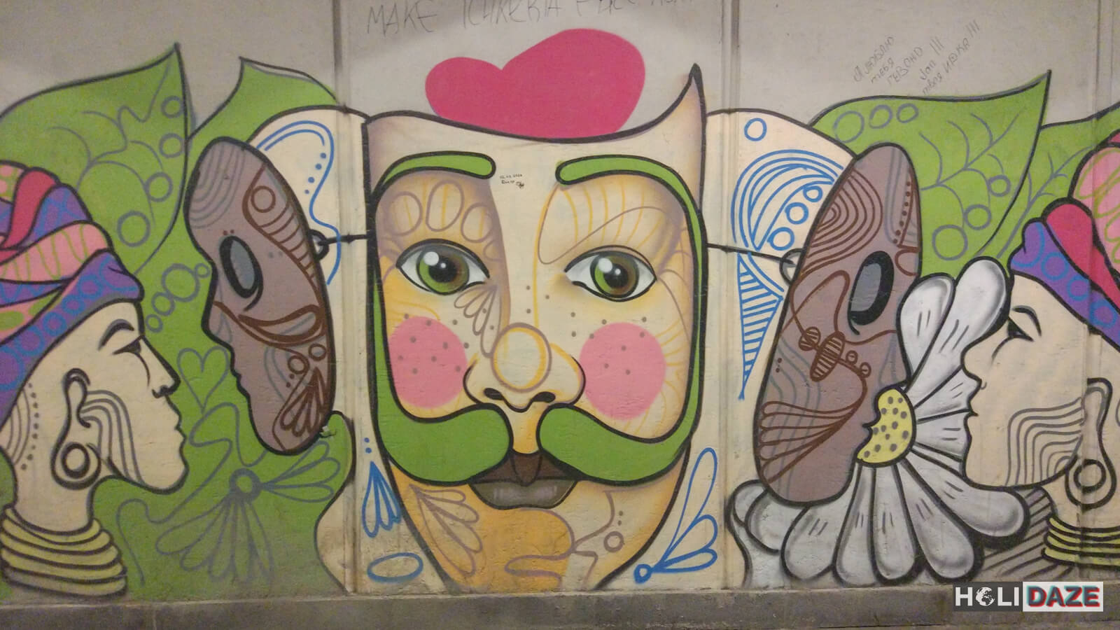Tbilisi street art faces of Nikoloz Baratashvili Bridge