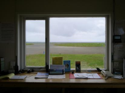 View from the Papa Westray Airport departure terminal