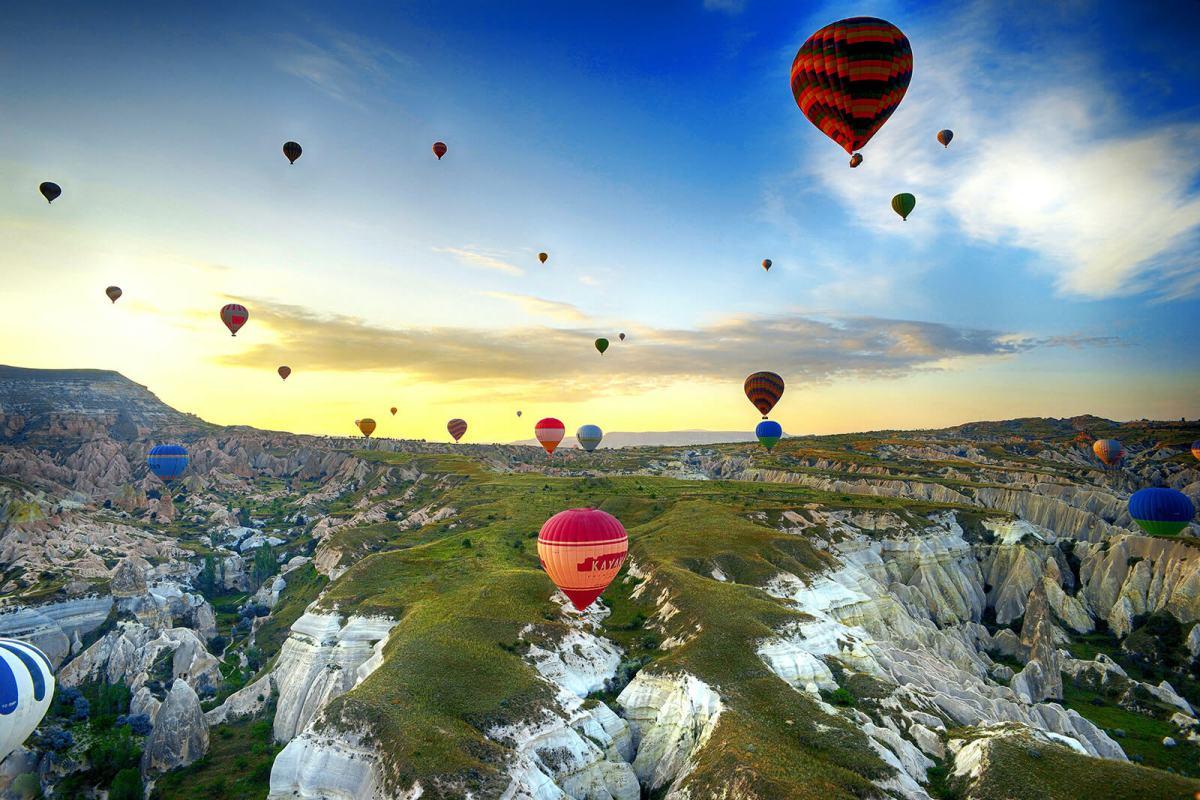 Hot air balloons over Cappadocia, Turkey