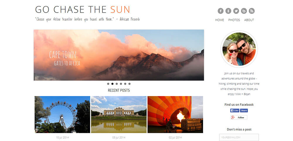 Best New Travel Blogs: Go Chase The Sun