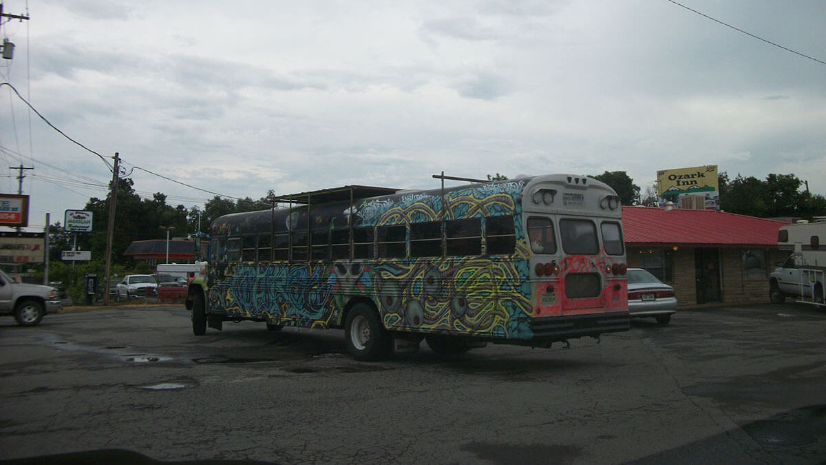 The Future Bus in Ozark, Arkansas, part of our hippie road trip