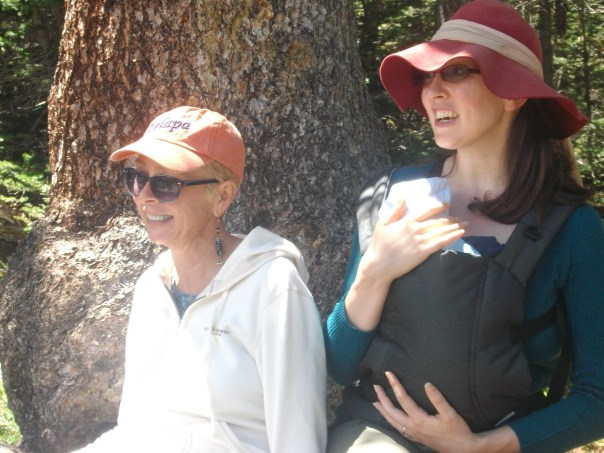 Peggy Elk, my mama, and Arwen Greer with baby Jimmy at Brainard Lake, CO summer 2013