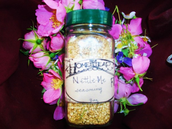 my best selling NettleMe seasoning, available locally for $5 a jar