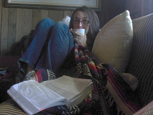 pillows, blankets, books and hot cocoa. While I'd rather be doing a hundred other things, this being sick business isn't so bad after all.