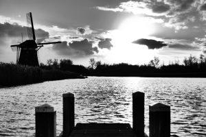B&W windmill & canal. Den Haag