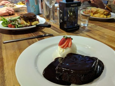 Steak, steak, pasta, schnitzel, steak, mud cake. Those are our orders.