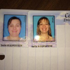 Sara Driver's License before and after