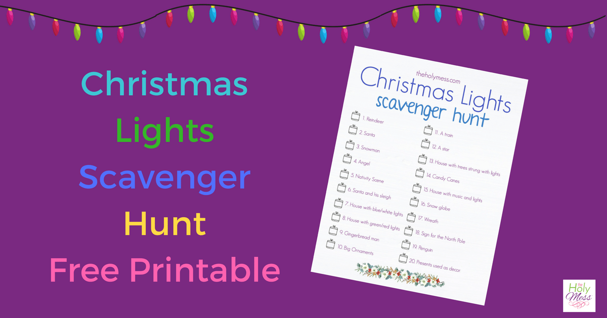 Christmas Lights Scavenger Hunt with Free Printable