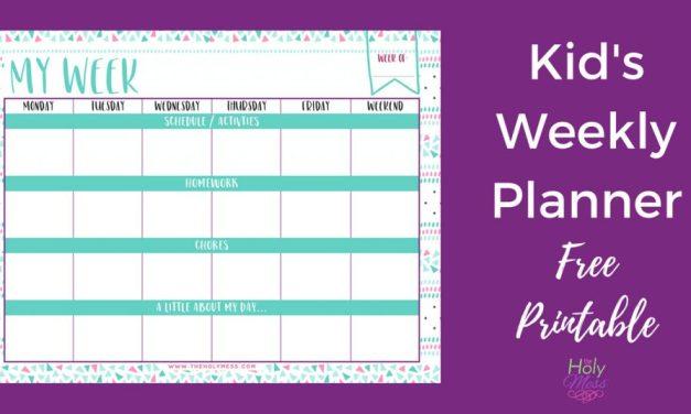 Kid's Weekly Planner Free Printable