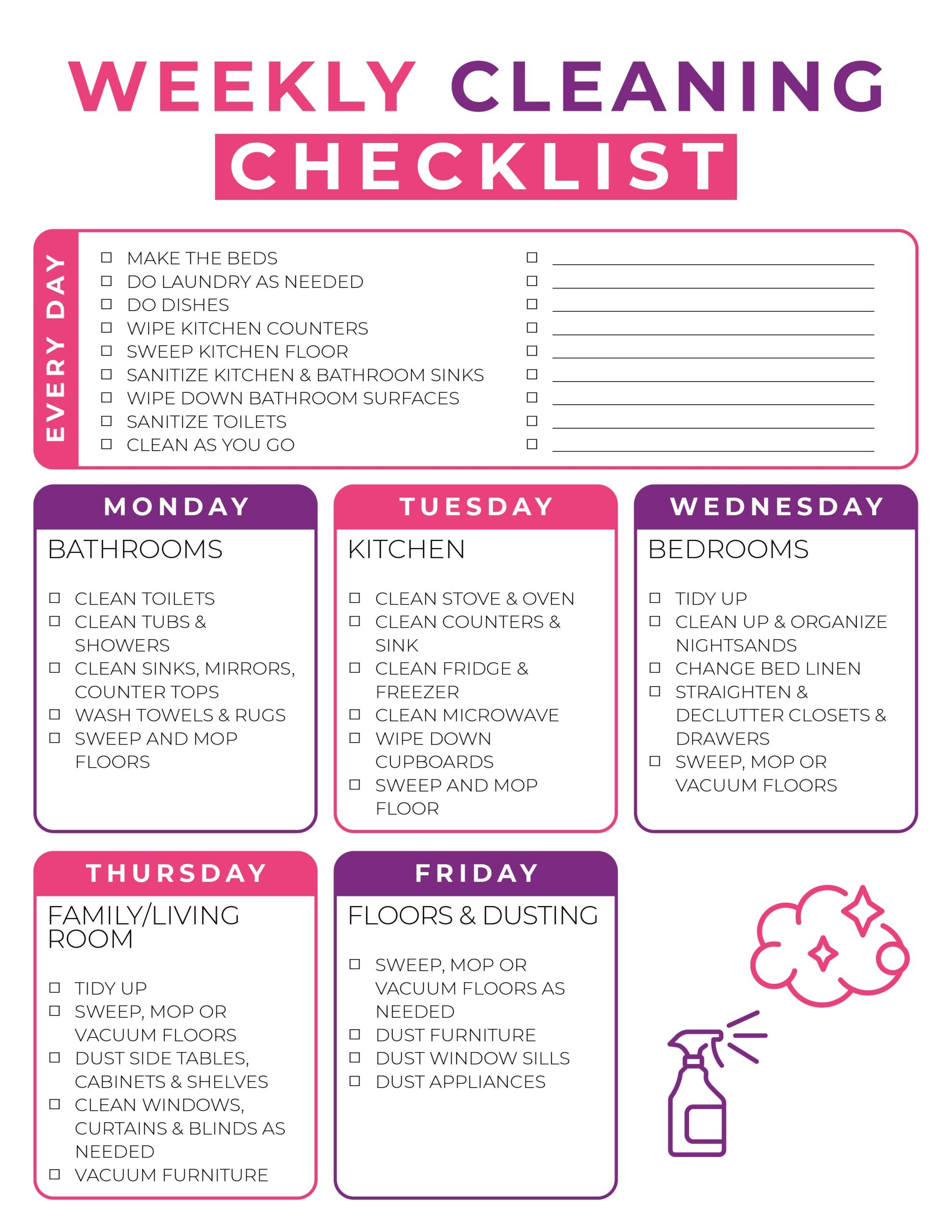 Free Printable Weekly Cleaning Checklist The Holy Mess