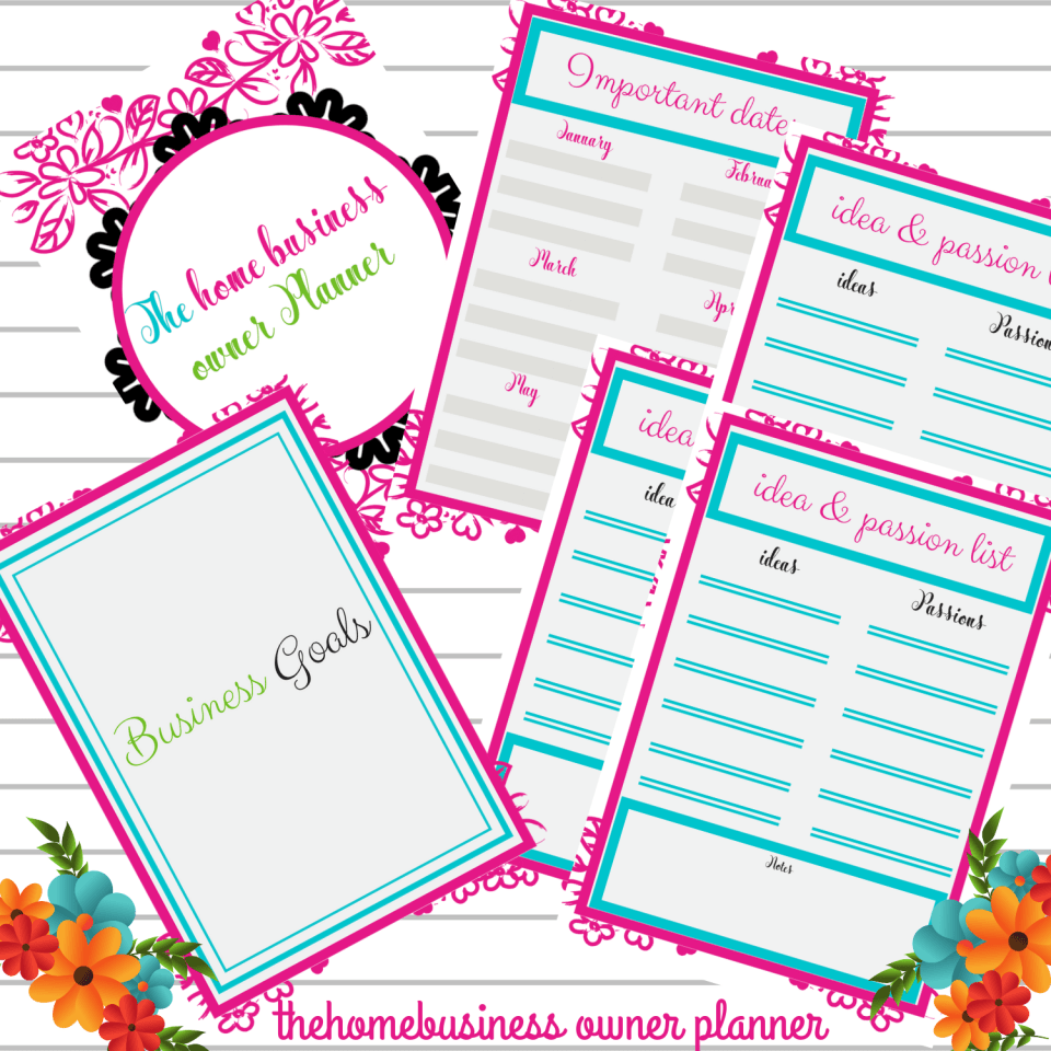 home business planner, goal setting planner