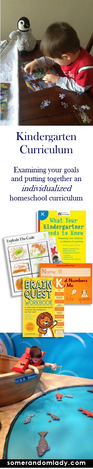 Choosing an eclectic kindergarten homeschool curriculum.