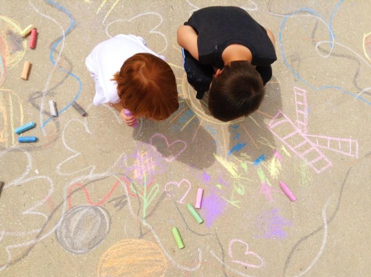 Children drawing with chalk on the sidewalk. Copyright 2017 Some Random Lady