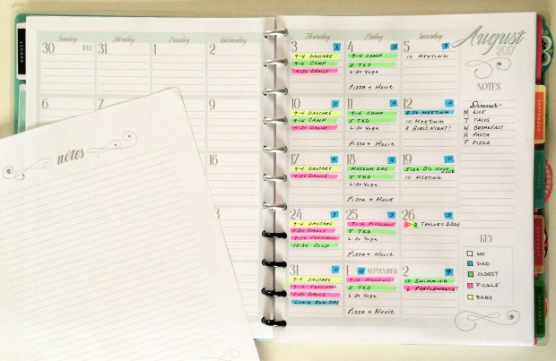 Color coded free printable family calendar