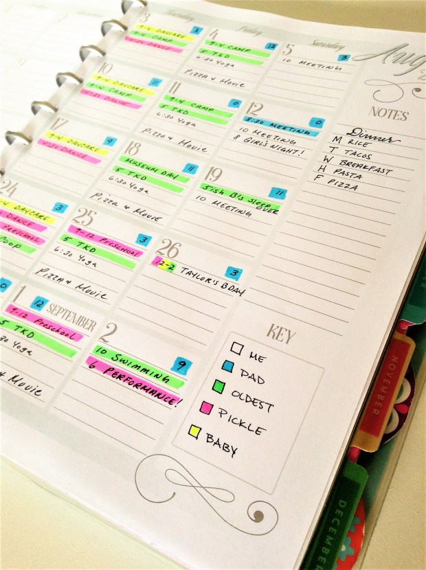 Color coded free printable family organization calendar
