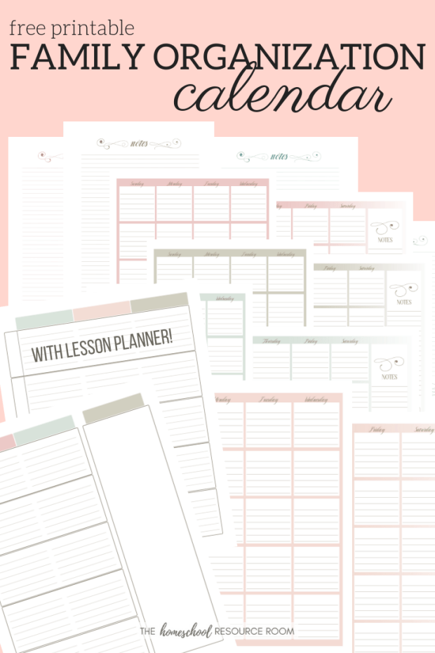 Free Printable Family Organization Calendar to get your family organized FAST!