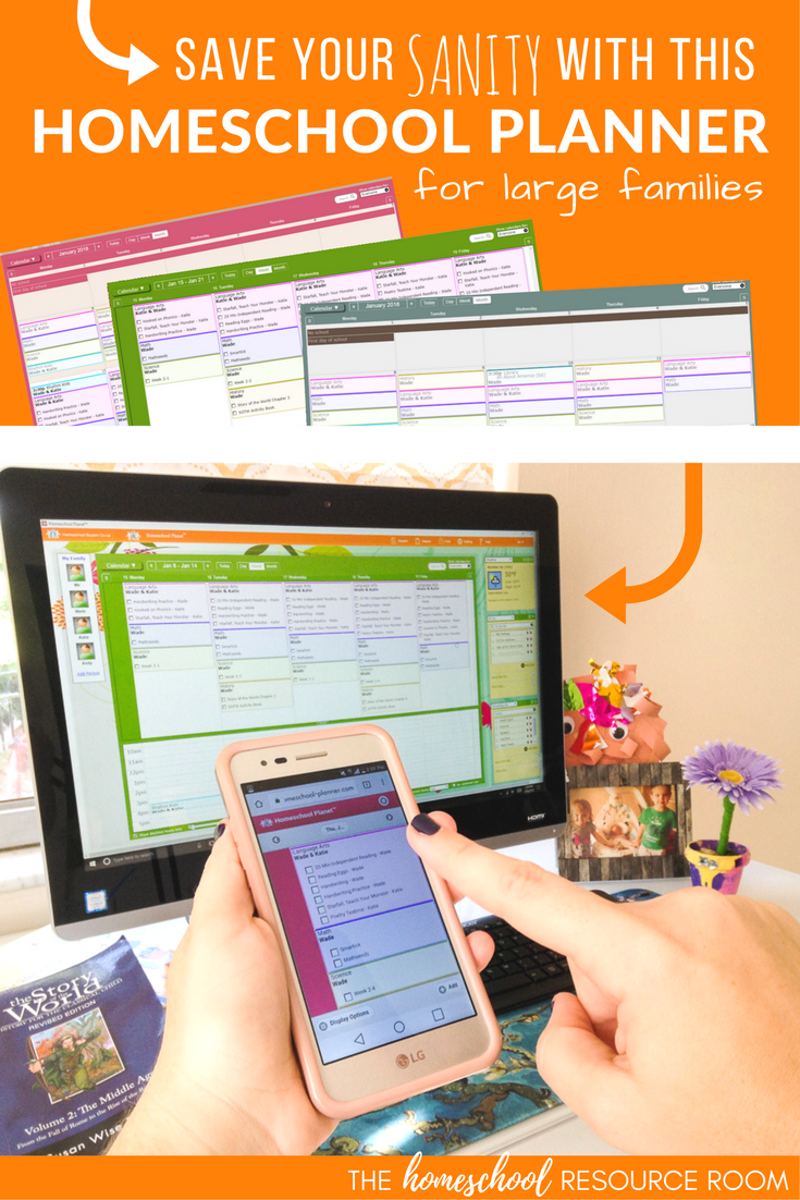 Homeschool Planner for Large Families - easy to use, time-saving, and completely customizable. Homeschool Planet is the most powerful online homeschool calendar and perfect for large families.