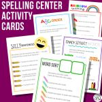 Spelling Centers Activity Cards