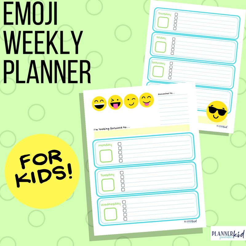 Emoji Weekly Planner for Kids