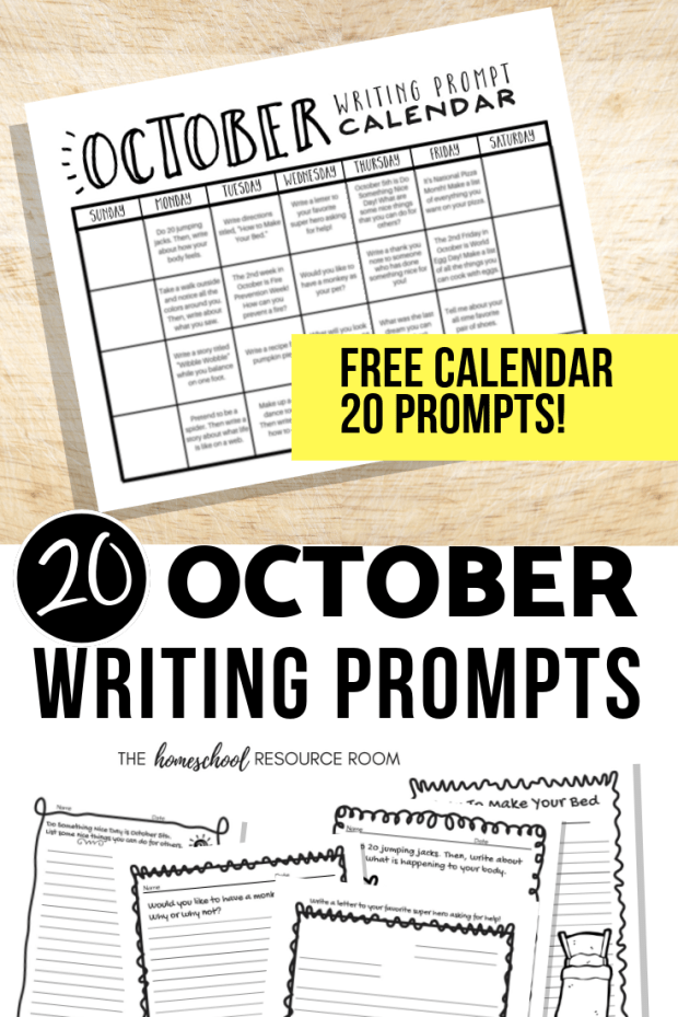 20 FREE October Writing Prompts for elementary and middle school grades. Fun ideas to get kids thinking and writing daily!