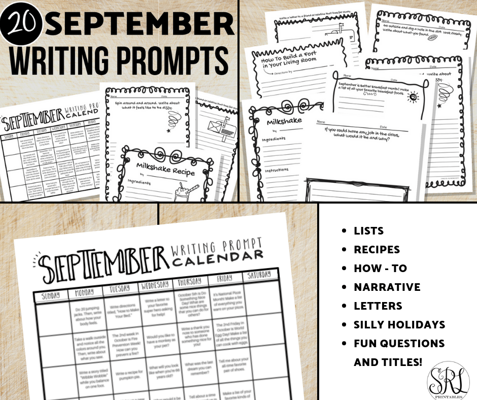 image relating to Printable Writing Prompt identified as September Composing Prompts: Cost-free Calendar with 20 Prompts