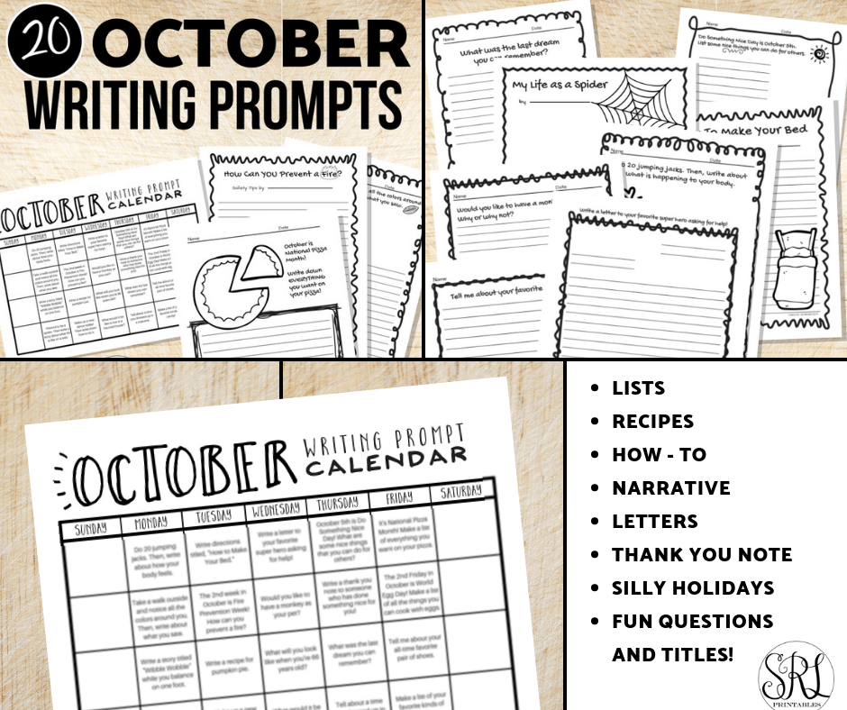 image about Printable Writing Prompts known as Oct Crafting Prompts: Free of charge Printable Calendar The