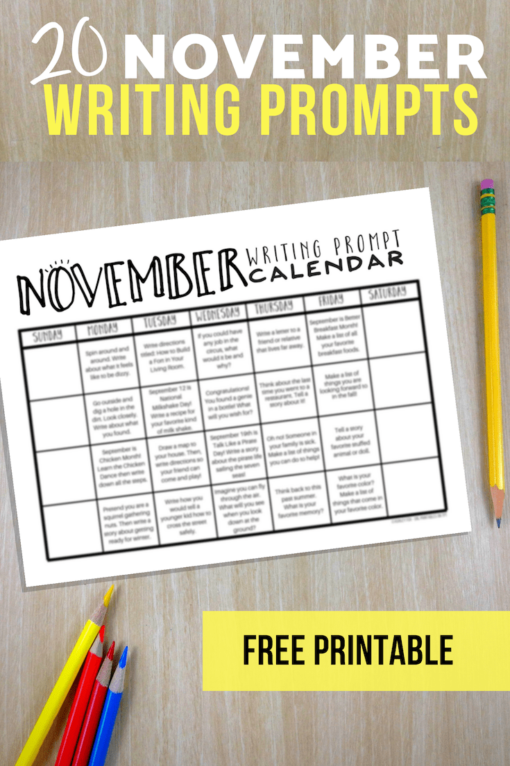 November Writing Prompts - FREE writing prompts calendar including 20 FUN and engaging writing prompts for elementary students. Click through to get a copy of these fun journal prompts! #writing #elementary #languagearts