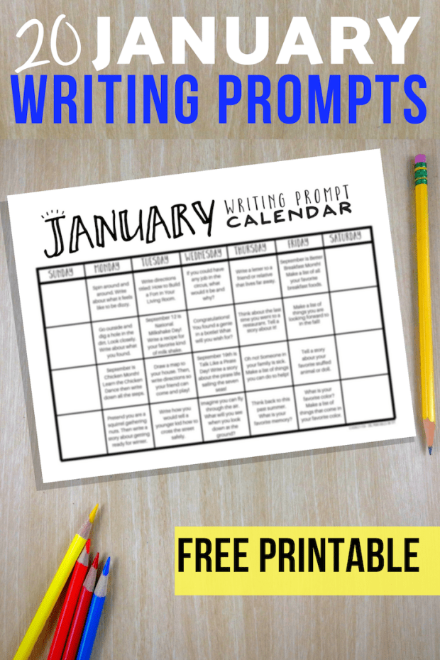 20 FREE January Writing Prompts for elementary students. January writing prompt calendar - fun ideas for a variety of thought provoking writing prompts.