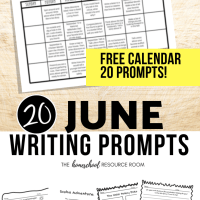June Writing Prompts: FREE June Writing Prompt Calendar!