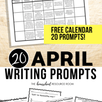 April Writing Prompts: FREE April Writing Prompt Calendar!