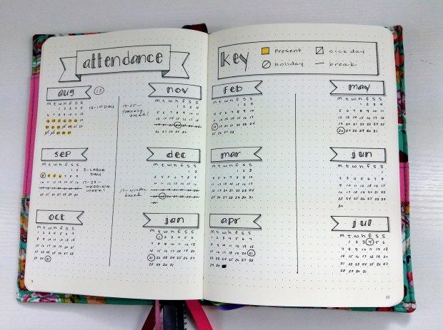 Bullet Journal Supplies, Attendance Page