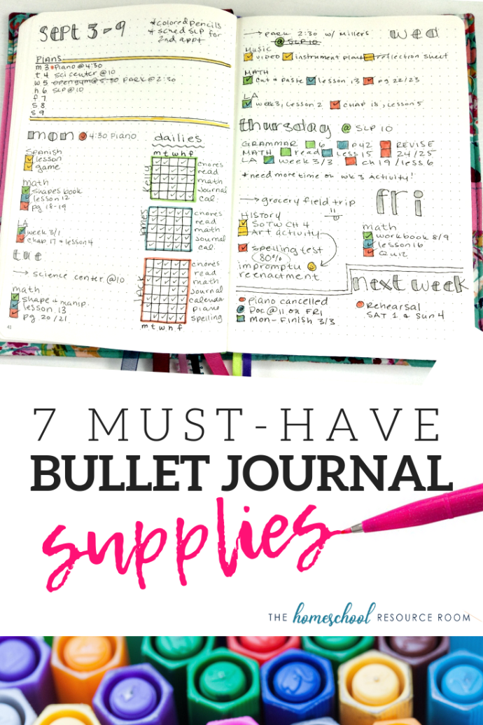 7 must-have bullet journal supplies for lesson planning and homeschool planning and tracking.