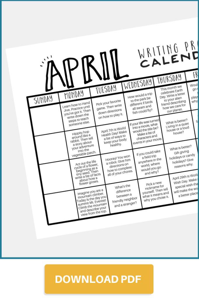 Download April writing prompt calendar