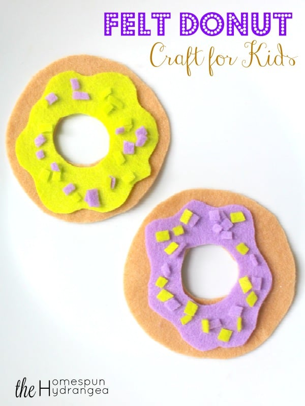 Imaginative crafts for kids are a great way to spark your kid's creativity and inspire them to explore their minds. Simple Felt Donut Felt Food Craft For Kids The Homespun Hydrangea